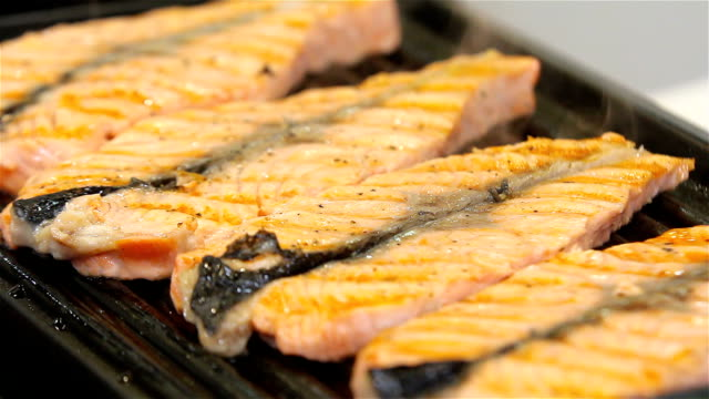 grilled salmon - salmon steak stock videos & royalty-free footage