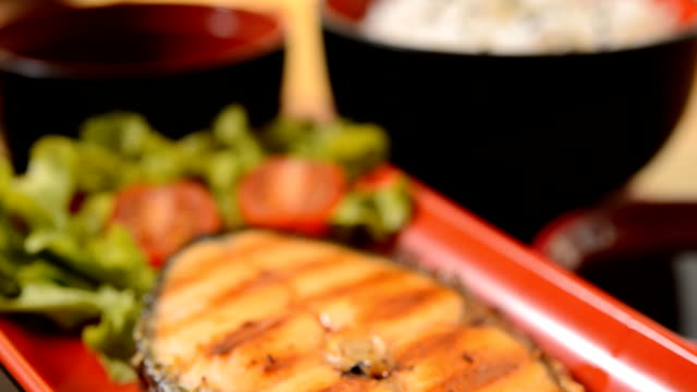 grilled salmon with soy sauce set japanese style - grilled salmon stock videos & royalty-free footage