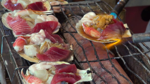 Grilled seafood in a shell