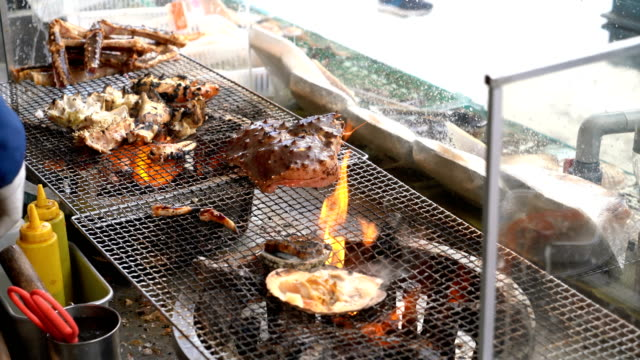 Grilled Seafood in Japanese Street Food Market