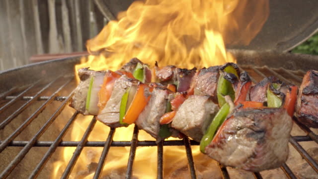 grilled shish kebab on a barbecue - ketogenic diet stock videos & royalty-free footage