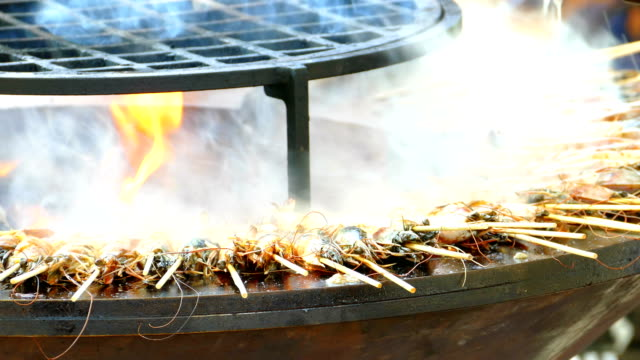 grilled shrimp cooking - seafood stock videos and b-roll footage