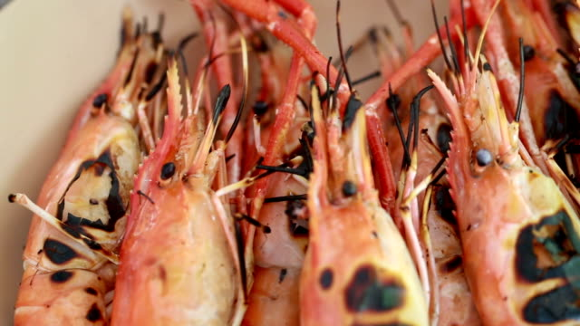 grilled shrimp - scampi seafood stock videos and b-roll footage