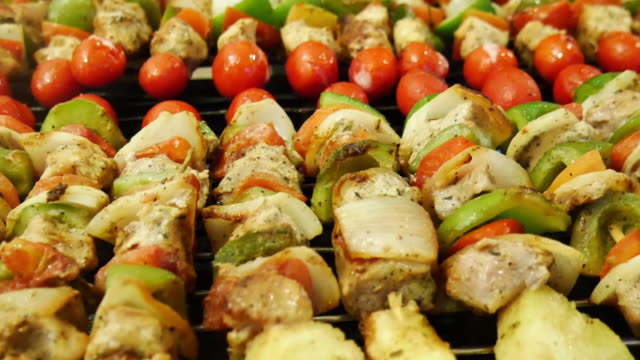 grilled skewers of meat and vegetables - briquette stock videos & royalty-free footage