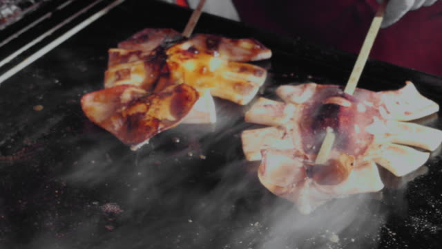 grilled squid - market stall stock videos & royalty-free footage