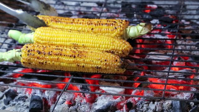 stockvideo's en b-roll-footage met gegrilde zoete maïs klaar om te worden gegeten - geroosterd