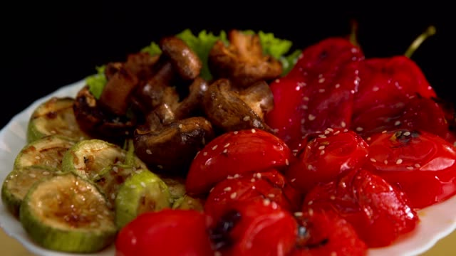 grilled vegetables beautifully served restaurant dish - serving size stock videos & royalty-free footage