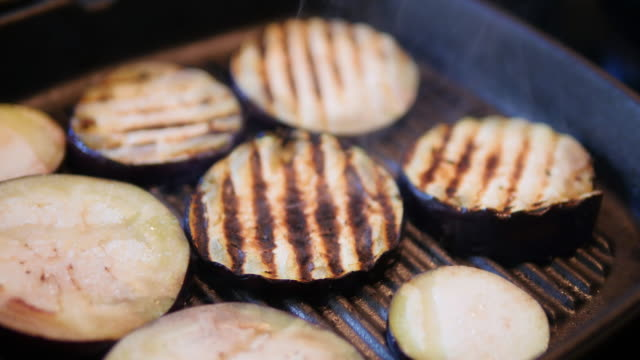 grilling aubergine - grilled stock videos and b-roll footage