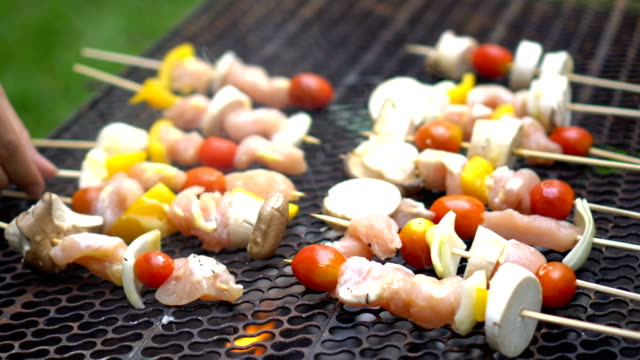 grilling barbecue sticks with chicken and vegetables - pollo alla brace video stock e b–roll