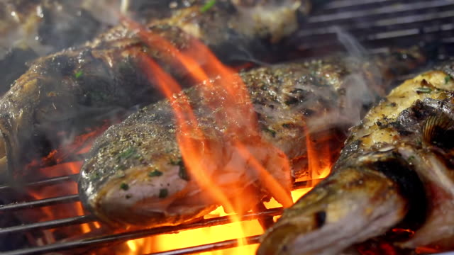 slo mo grilling fish - grilled stock videos and b-roll footage