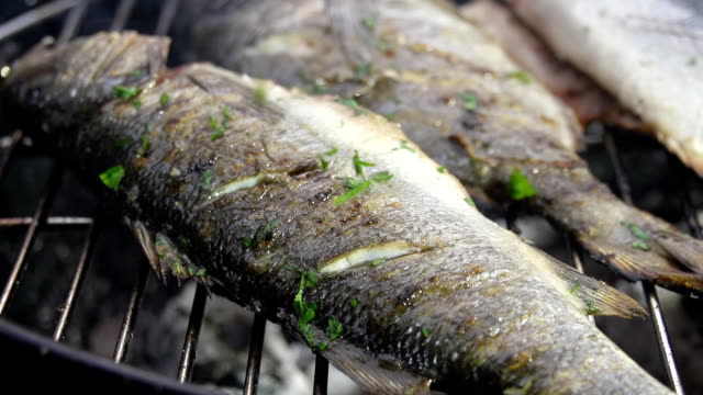 slo mo grilling fish with parsley - briquette stock videos & royalty-free footage