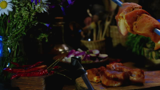 grilling pork meat - skewer stock videos & royalty-free footage