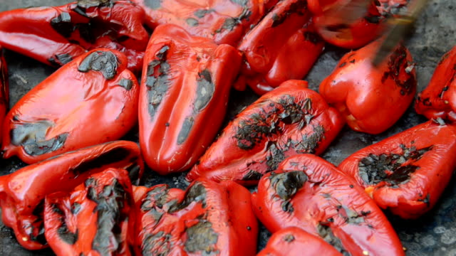 grilling red peppers - bell pepper stock videos & royalty-free footage