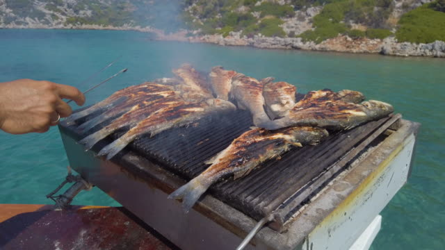 grilling seabass fish on boat deck during blue voyage in turkey - sea bass stock videos & royalty-free footage