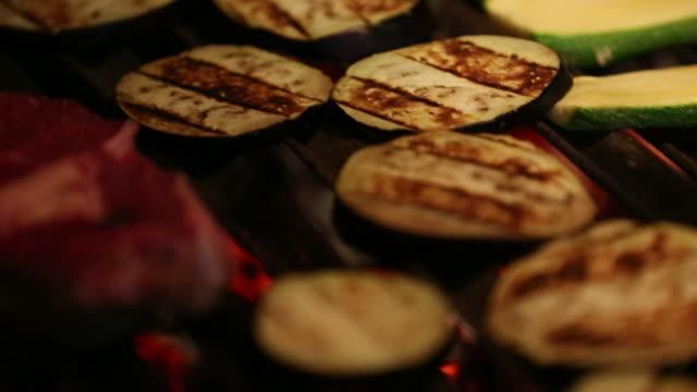 grilling vegetables - aubergine stock videos & royalty-free footage
