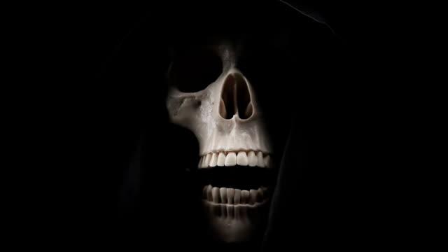 grim reaper talking - human skeleton stock videos and b-roll footage