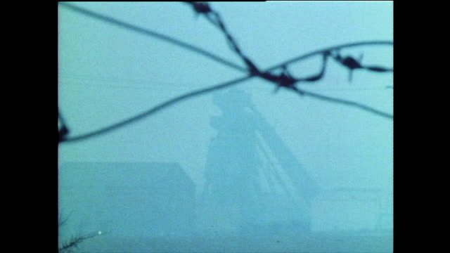 grimethorpe colliery buildings through the fog; 1985 - film stock videos & royalty-free footage