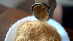 Grinding hazelnuts
