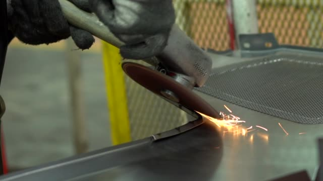 grinding steel, slow motion shot - industrial district stock videos & royalty-free footage