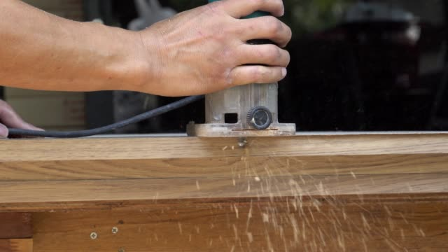 grinding wood in a job - cupboard stock videos & royalty-free footage