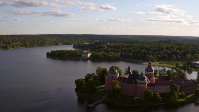 aerial: gripsholms slott, mariefred - royalty stock videos & royalty-free footage