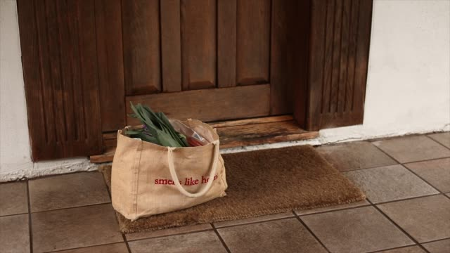 grocery bag delivery left on home front door mat - bag stock videos & royalty-free footage