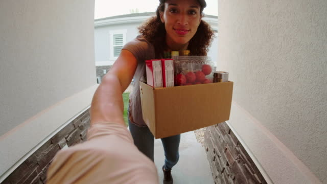 grocery delivery person - fish eye lens stock videos & royalty-free footage