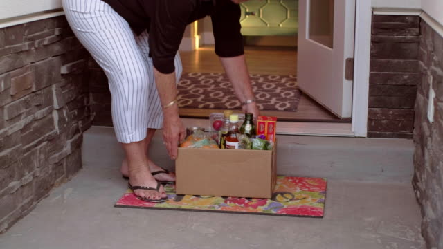 grocery delivery - meal box stock videos & royalty-free footage