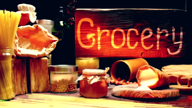 grocery shop with wood hanging sign - maple syrup stock videos & royalty-free footage