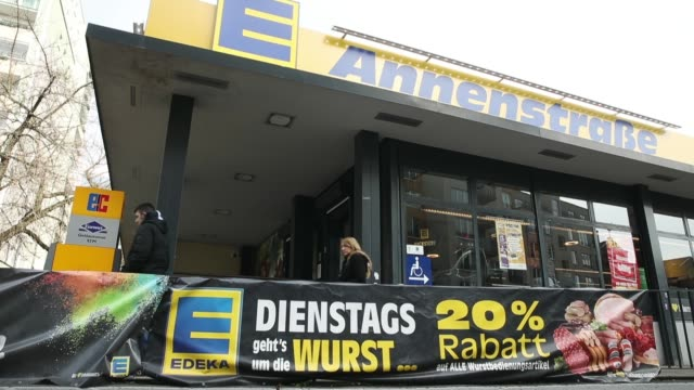 grocery store of german chain edeka stands on february 19, 2018 in berlin, germany. according to media reports agecore-group, to which edeka belongs,... - chain store stock videos & royalty-free footage