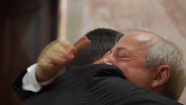groom embracing his father while crying - grandfather stock videos & royalty-free footage