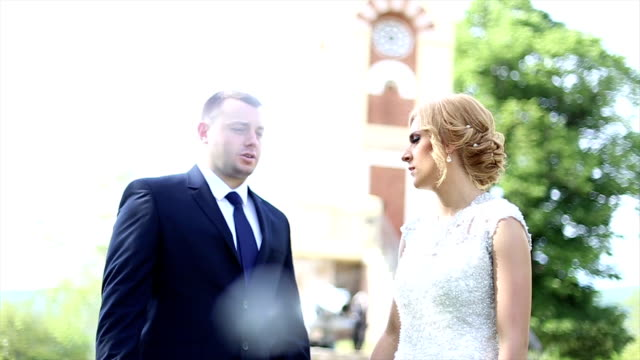 groom talking to bride - bride stock videos and b-roll footage
