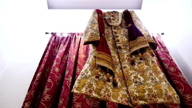 groom wedding dress (sherwani dress) - dhoti video stock e b–roll