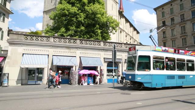 Grossmünster cathedral shift tilt pan to tramway, Zurich