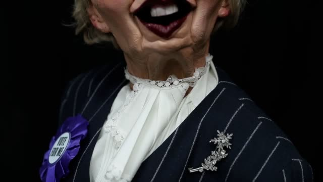 a grotesque puppet of margaret thatcher which featured on satirical series spitting image is up for auction spanning 18 series the acerbic puppet... - puppentheater figur stock-videos und b-roll-filmmaterial