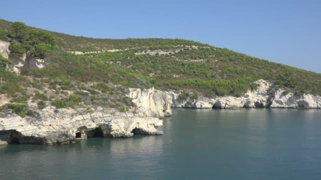vídeos y material grabado en eventos de stock de pan / grotta sfondata grande at rocky coast with white limestone rocks - península
