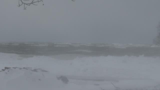 ground blizzard conditions on lake ontario - scott mcpartland stock videos & royalty-free footage