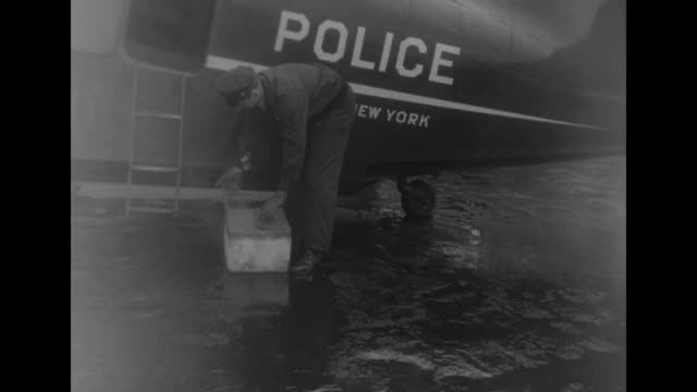 ground crew guides new york city police pontoon plane as it leaves hangar at floyd bennett field / vs man loads boxes of dry ice onto planes / vs men... - dry ice stock videos & royalty-free footage