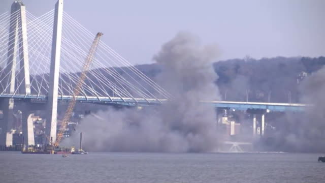 ground level shot on a section of the old tappan zee bridge coming down during a controlled demolition on january 15, 2019 in tarrytown, new york. - surface level stock videos & royalty-free footage
