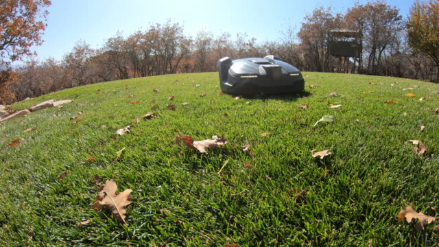 ground level view of robot lawn mower as it drives drives by - grass stock videos & royalty-free footage