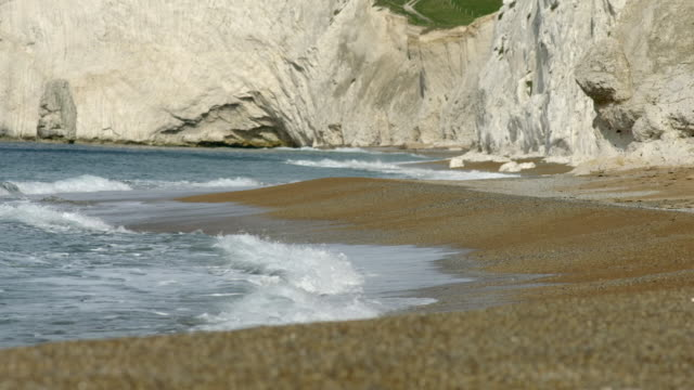ground-level views of pebble beach with cliffs and wildflowers - mineral stock videos & royalty-free footage
