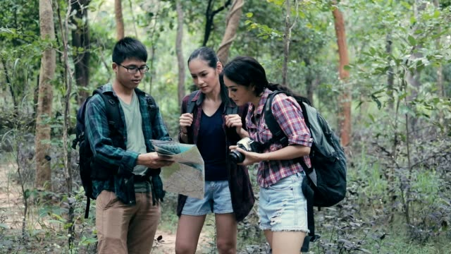Groep backpacker reisverzekering en wandelen in het bos