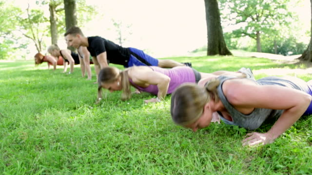 Group Does Pushups in the Park