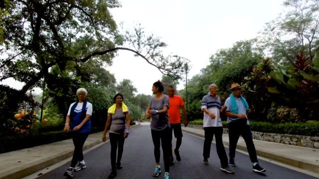 vídeos y material grabado en eventos de stock de grupo de la tercera edad activa caminando en el parque - pedestrismo