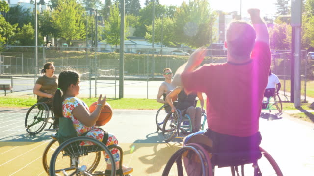 MS Group of adaptive athletes warming up before basketball practice