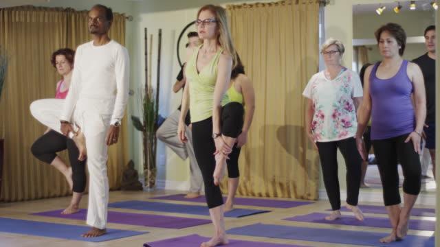 vídeos de stock, filmes e b-roll de grupo de adultos fazer posições de ioga - pose de arvore