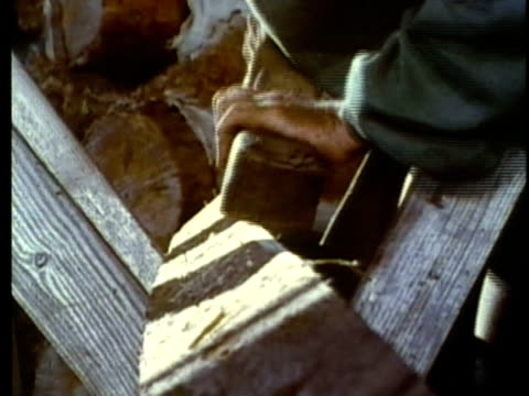 stockvideo's en b-roll-footage met 1963 reenactment montage group of american settlers constructing wooden structure / 1820s texas / audio - manifest destiny