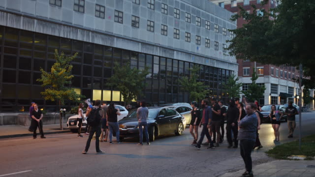 A group of ANTIFA protesters confront motorists while protesting in solidarity with Charlottesville The small group of protesters left a community...