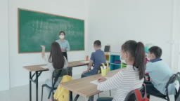 Group of Asian elementary school students and teacher wearing hygienic mask to prevent the outbreak of Covid 19 in classroom while back to school reopen their school, New normal for education concept.