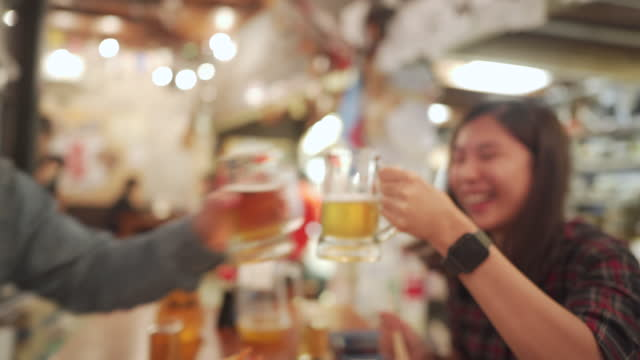 a group of asian salaryman enjoy party after long day of work - happy hour stock videos & royalty-free footage